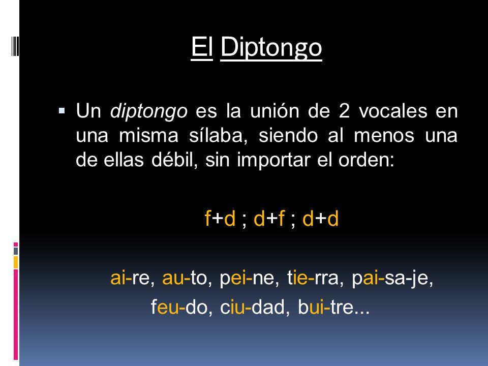 El Diptongo Un diptongo es la unión de 2 vocales en una misma sílaba, siendo al menos una de ellas débil, sin importar el orden:
