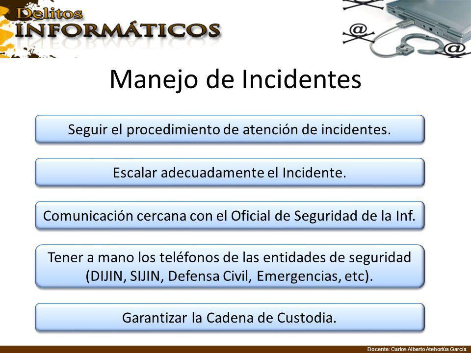 Manejo de Incidentes Seguir el procedimiento de atención de incidentes. Escalar adecuadamente el Incidente.