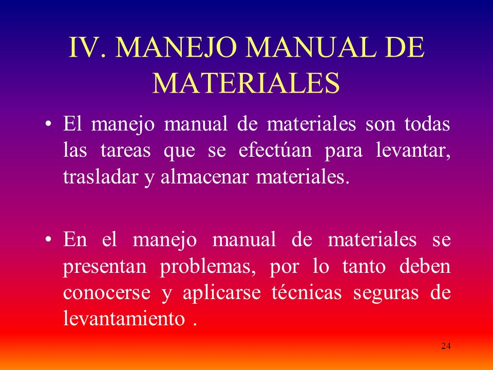 IV. MANEJO MANUAL DE MATERIALES