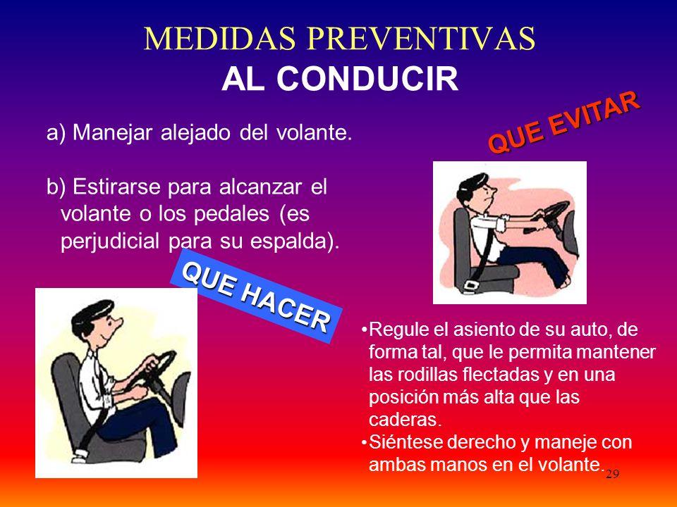 MEDIDAS PREVENTIVAS AL CONDUCIR