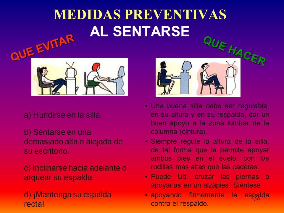 MEDIDAS PREVENTIVAS AL SENTARSE