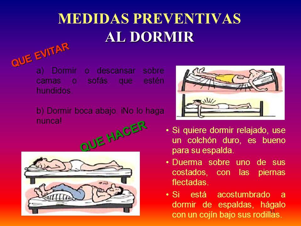 MEDIDAS PREVENTIVAS AL DORMIR