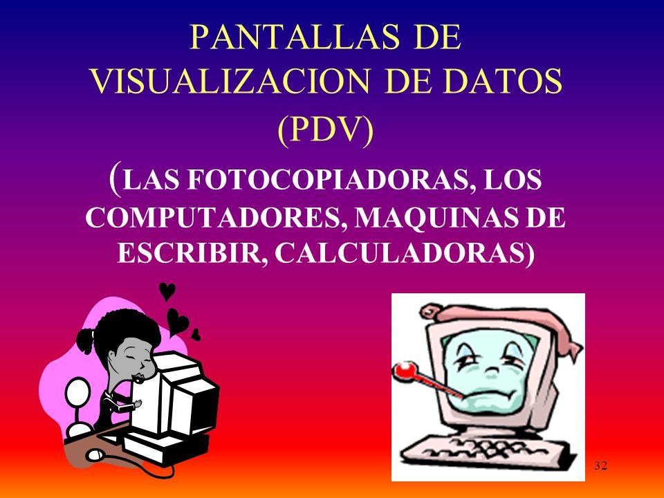 PANTALLAS DE VISUALIZACION DE DATOS (PDV) (LAS FOTOCOPIADORAS, LOS COMPUTADORES, MAQUINAS DE ESCRIBIR, CALCULADORAS)