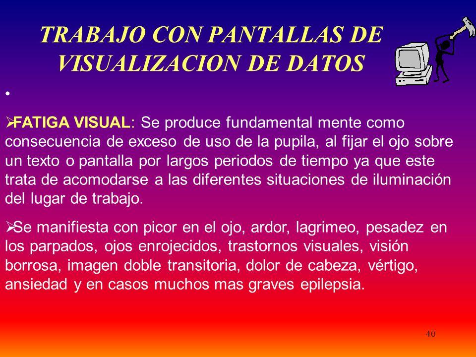 TRABAJO CON PANTALLAS DE VISUALIZACION DE DATOS