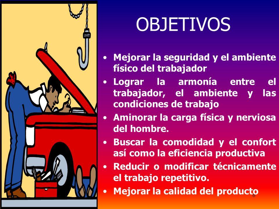 OBJETIVOS Mejorar la seguridad y el ambiente físico del trabajador