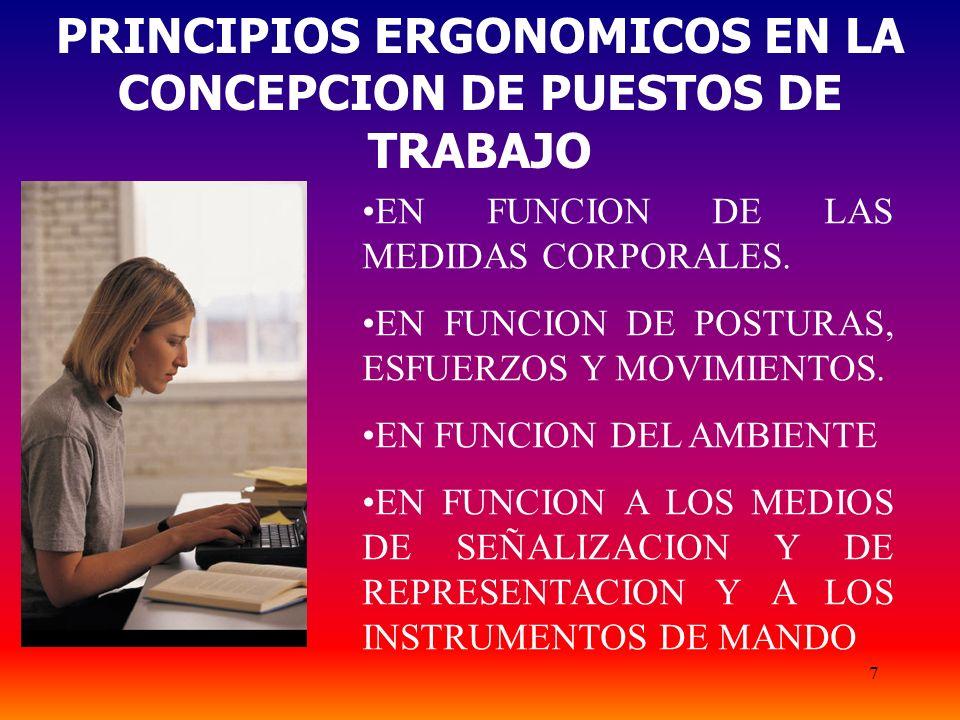 PRINCIPIOS ERGONOMICOS EN LA CONCEPCION DE PUESTOS DE TRABAJO