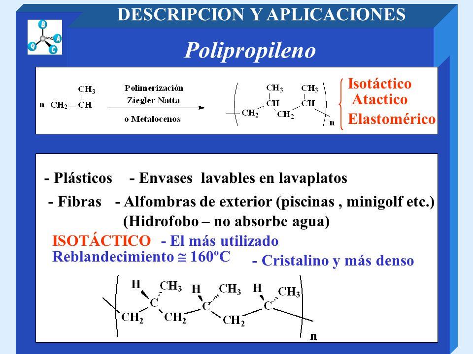 Polipropileno DESCRIPCION Y APLICACIONES Isotáctico Atactico