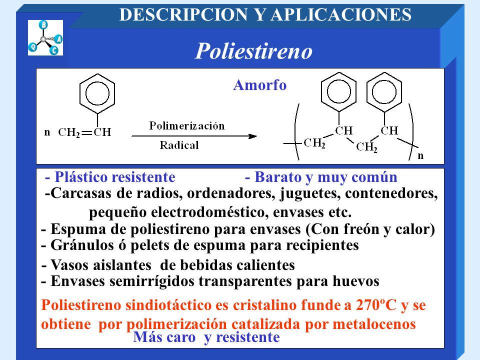 Poliestireno DESCRIPCION Y APLICACIONES Amorfo - Plástico resistente