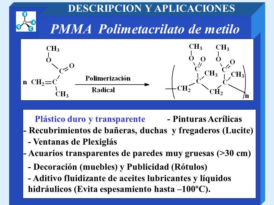 DESCRIPCION Y APLICACIONES PMMA Polimetacrilato de metilo