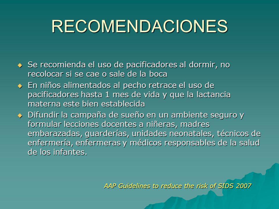 RECOMENDACIONES Se recomienda el uso de pacificadores al dormir, no recolocar si se cae o sale de la boca.