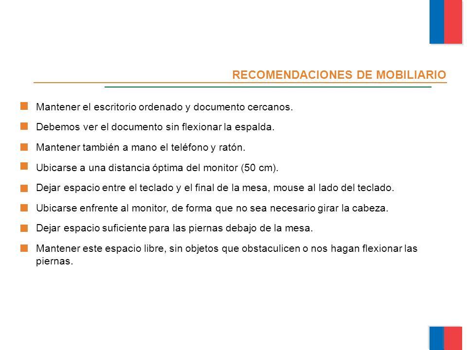 RECOMENDACIONES DE MOBILIARIO