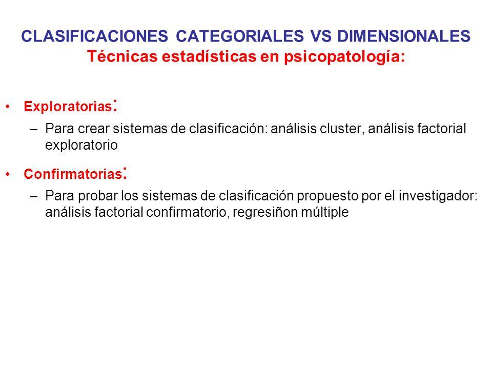 CLASIFICACIONES CATEGORIALES VS DIMENSIONALES Técnicas estadísticas en psicopatología: