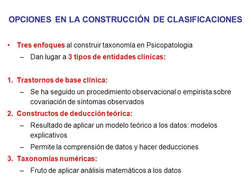 OPCIONES EN LA CONSTRUCCIÓN DE CLASIFICACIONES