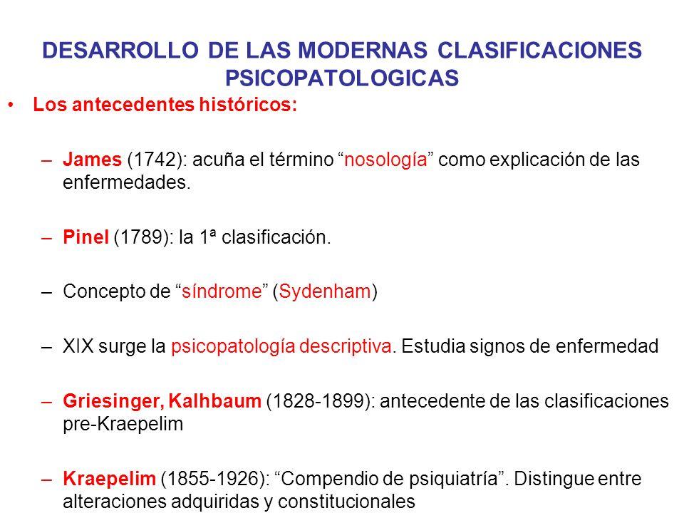 DESARROLLO DE LAS MODERNAS CLASIFICACIONES PSICOPATOLOGICAS