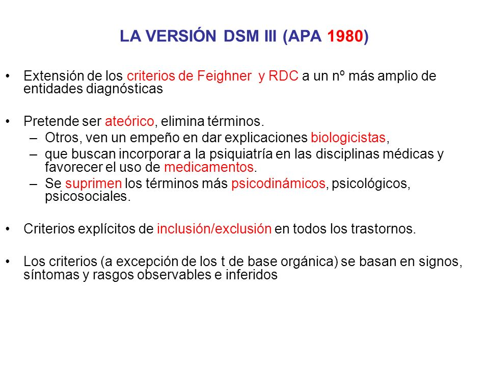 LA VERSIÓN DSM III (APA 1980)