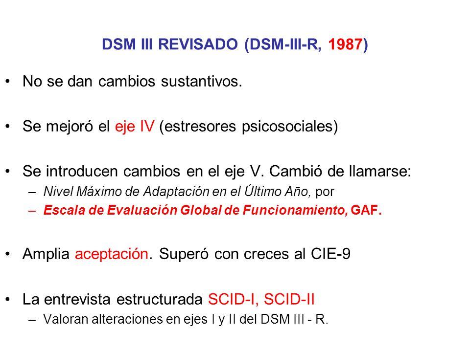 DSM III REVISADO (DSM-III-R, 1987)