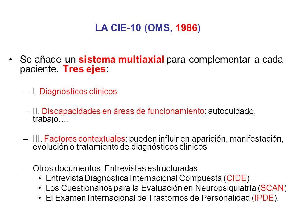 LA CIE-10 (OMS, 1986) Se añade un sistema multiaxial para complementar a cada paciente. Tres ejes: I. Diagnósticos clínicos.