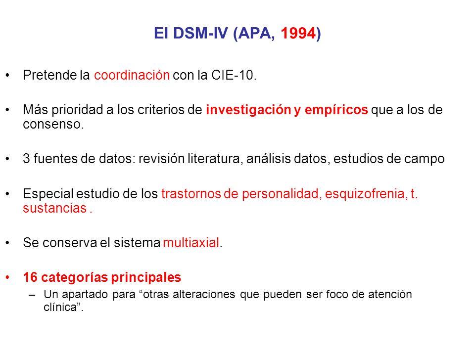 El DSM-IV (APA, 1994) Pretende la coordinación con la CIE-10.