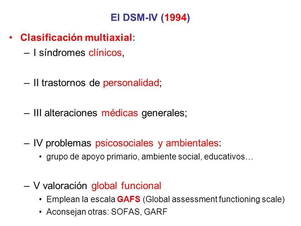 Clasificación multiaxial: I síndromes clínicos,