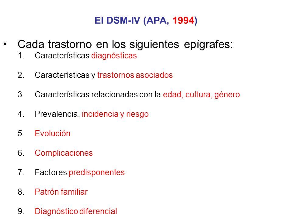 Cada trastorno en los siguientes epígrafes: