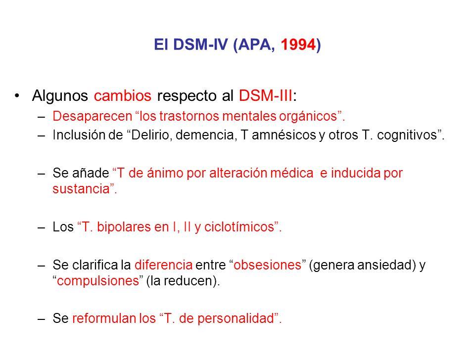 Algunos cambios respecto al DSM-III: