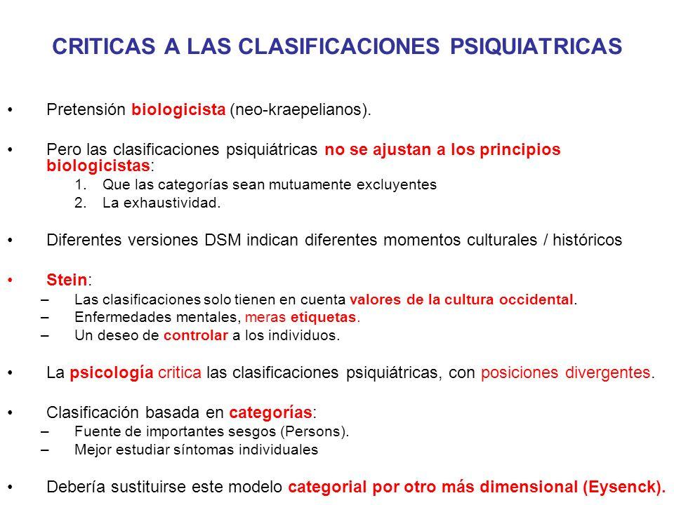 CRITICAS A LAS CLASIFICACIONES PSIQUIATRICAS