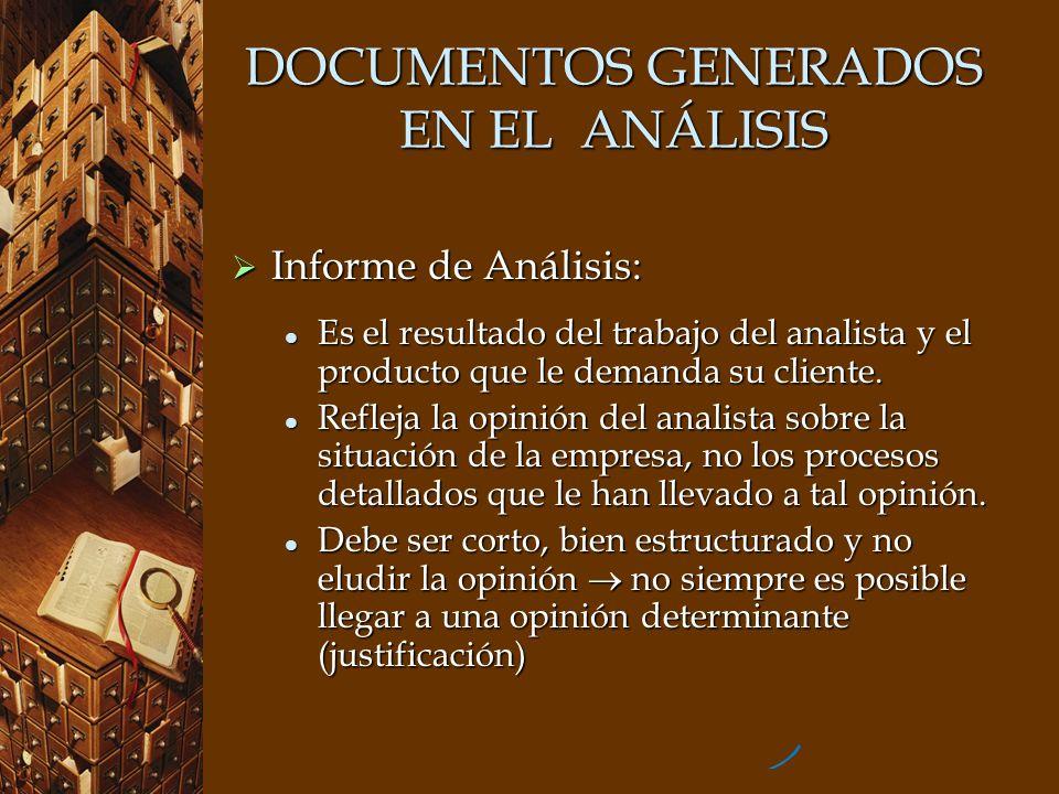 DOCUMENTOS GENERADOS EN EL ANÁLISIS