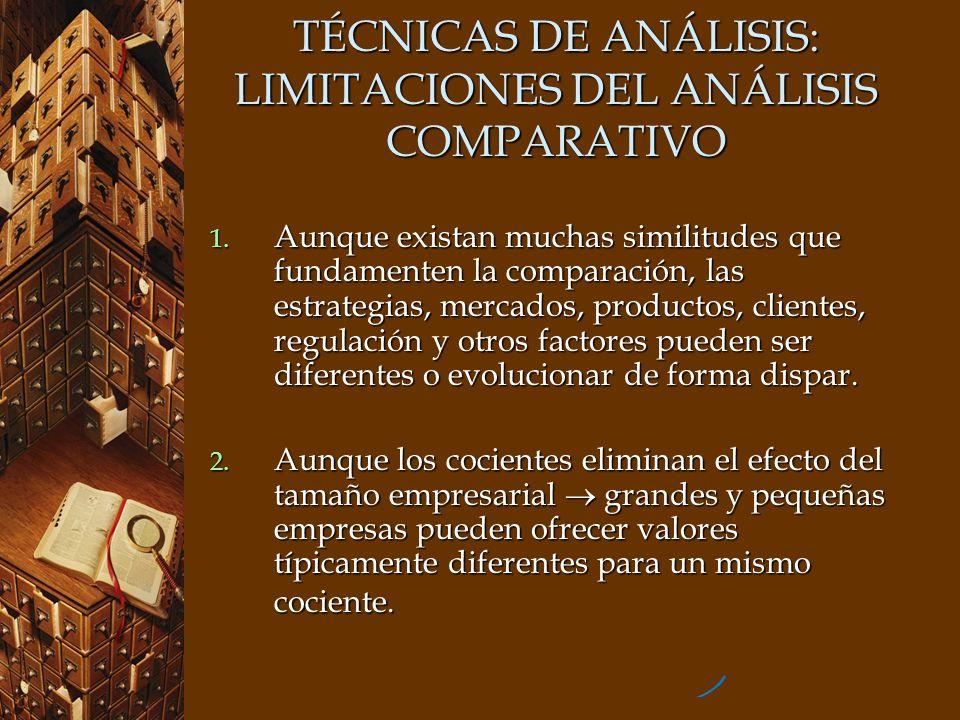 TÉCNICAS DE ANÁLISIS: LIMITACIONES DEL ANÁLISIS COMPARATIVO