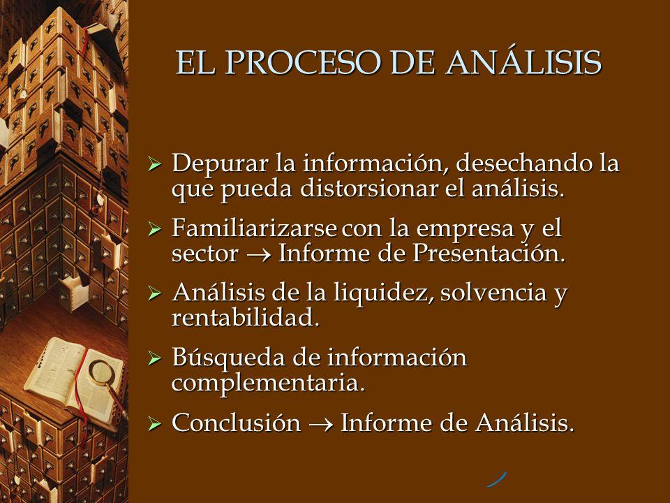 EL PROCESO DE ANÁLISIS Depurar la información, desechando la que pueda distorsionar el análisis.