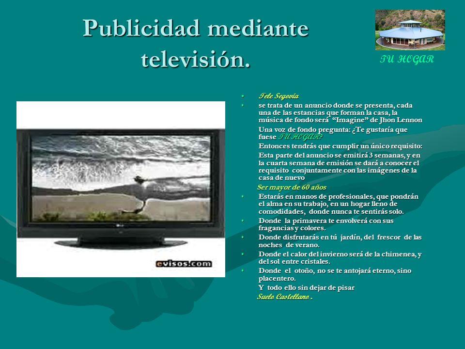 Publicidad mediante televisión.