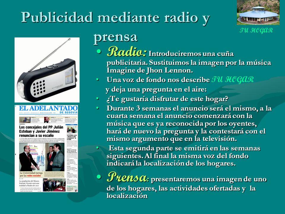 Publicidad mediante radio y prensa