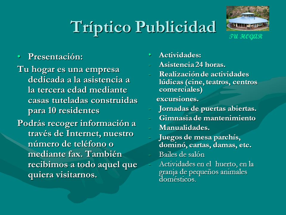 Tríptico Publicidad Presentación: