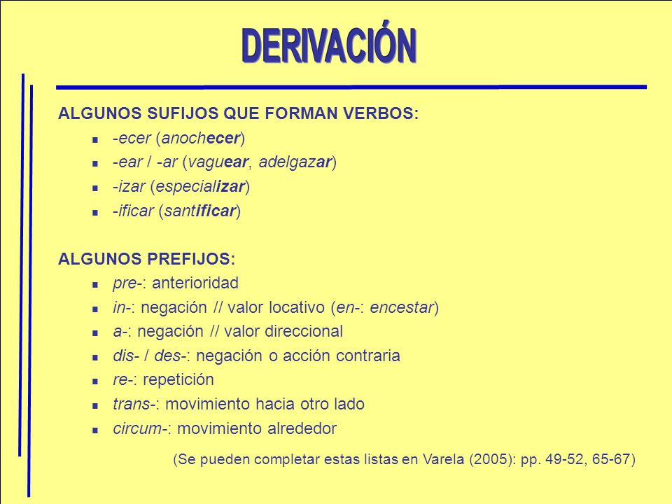 DERIVACIÓN ALGUNOS SUFIJOS QUE FORMAN VERBOS: -ecer (anochecer)