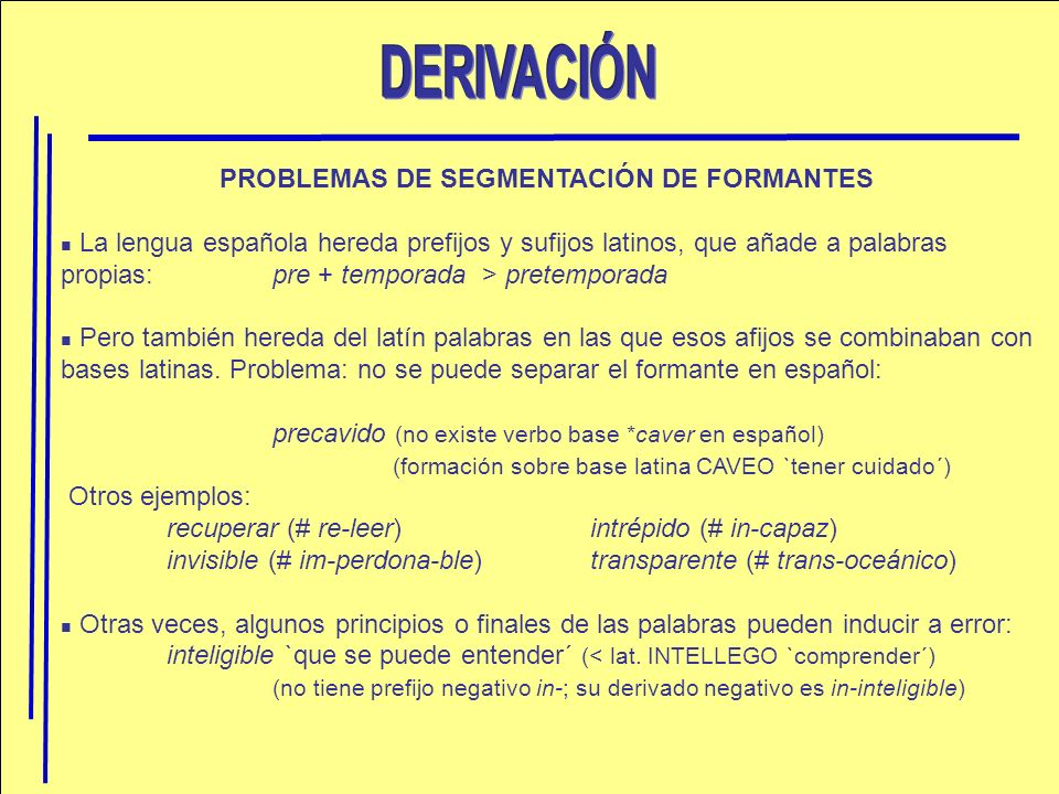 PROBLEMAS DE SEGMENTACIÓN DE FORMANTES