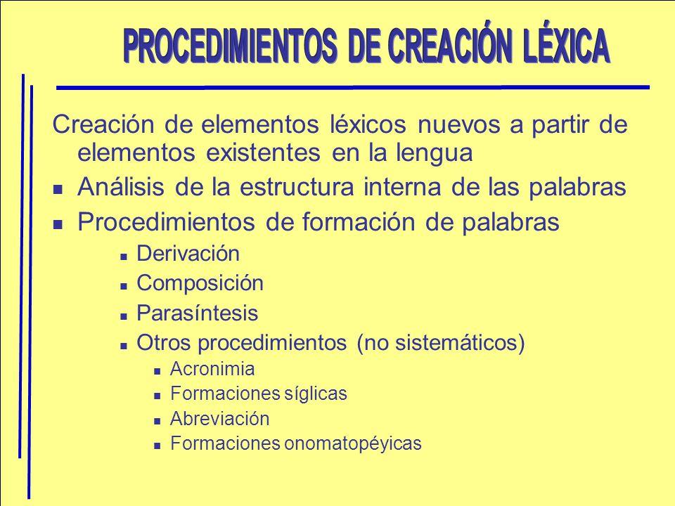 PROCEDIMIENTOS DE CREACIÓN LÉXICA
