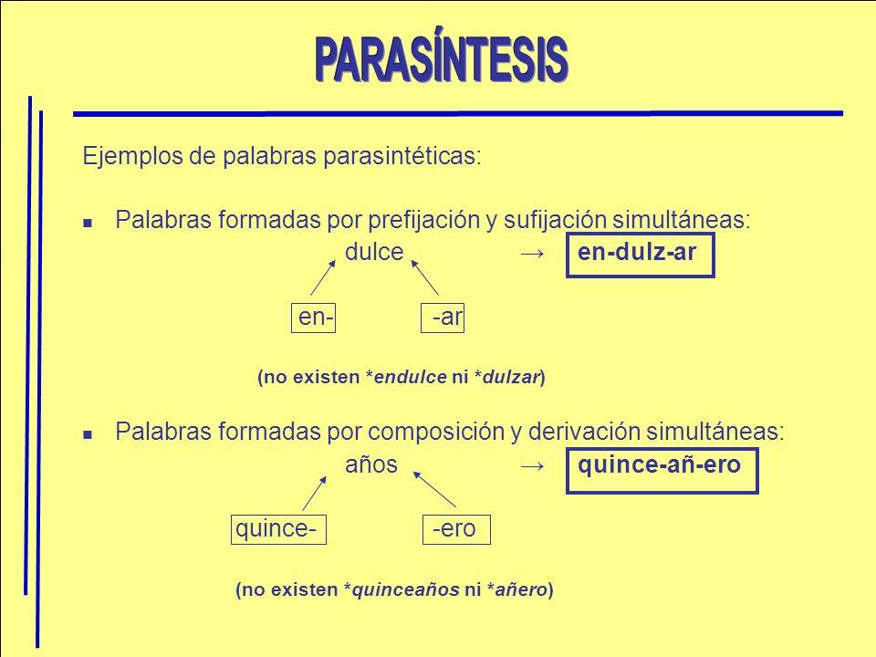 PARASÍNTESIS Ejemplos de palabras parasintéticas: