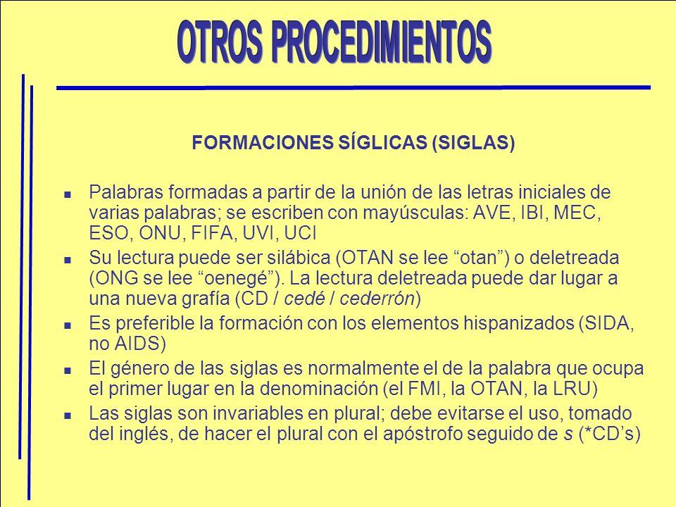 FORMACIONES SÍGLICAS (SIGLAS)