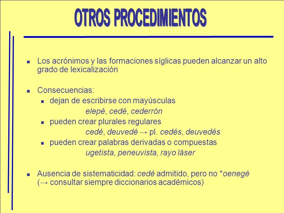 OTROS PROCEDIMIENTOS Los acrónimos y las formaciones síglicas pueden alcanzar un alto grado de lexicalización.