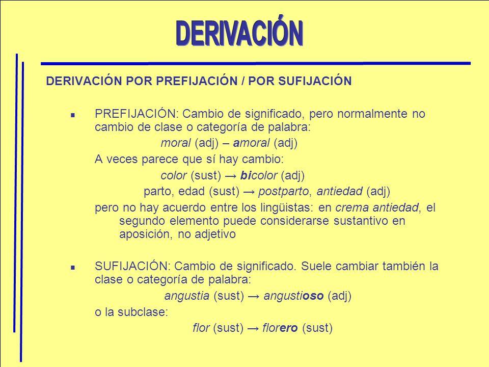 DERIVACIÓN DERIVACIÓN POR PREFIJACIÓN / POR SUFIJACIÓN