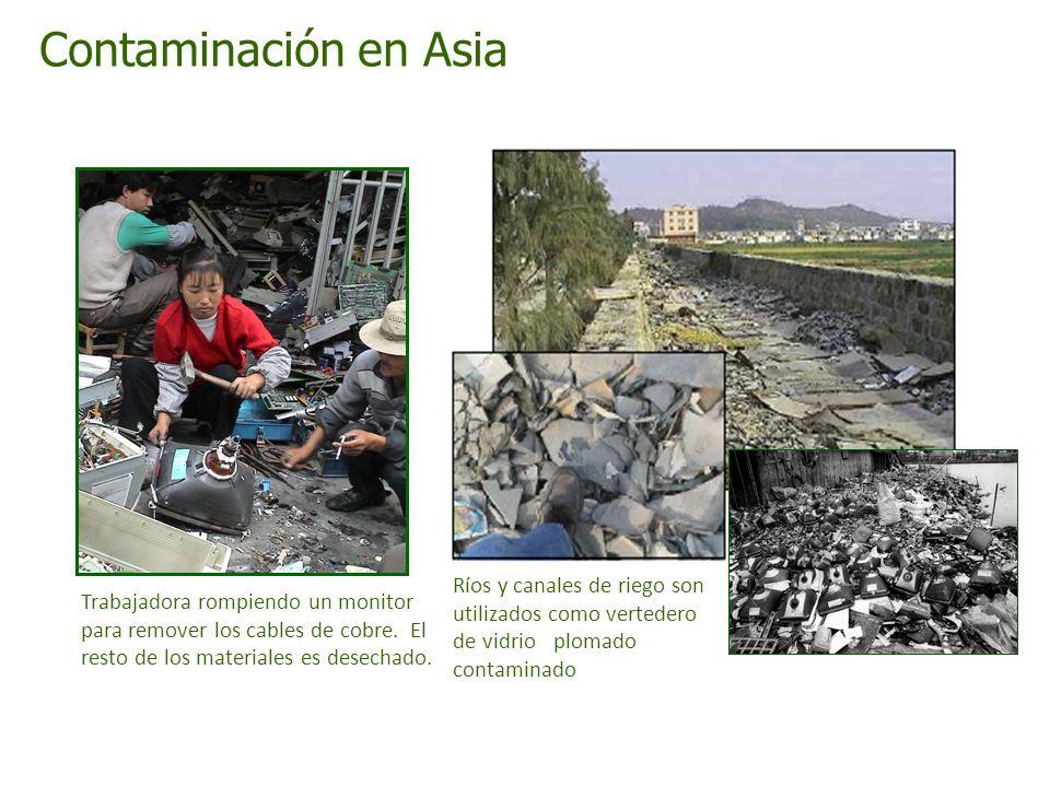 Contaminación en Asia Ríos y canales de riego son utilizados como vertedero de vidrioo plomado contaminadominante.