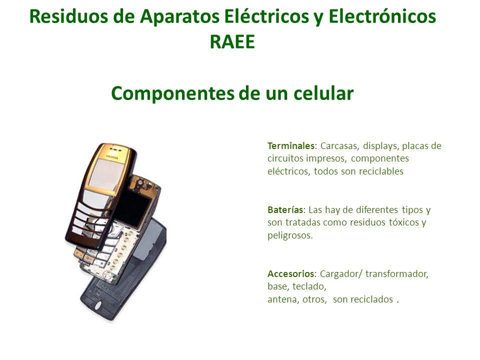 Residuos de Aparatos Eléctricos y Electrónicos RAEE Componentes de un celular