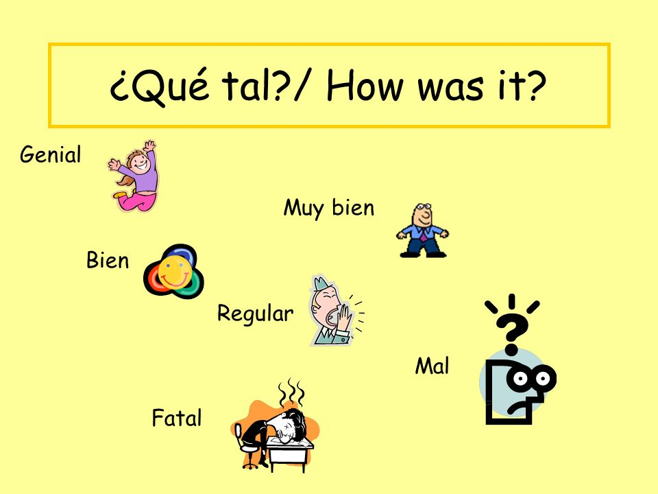 ¿Qué tal / How was it Genial Muy bien Bien Regular Mal Fatal