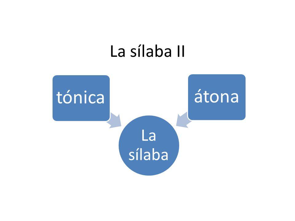 La sílaba II La sílaba tónica átona