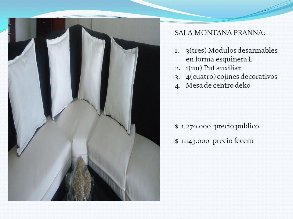 SALA MONTANA PRANNA: 3(tres) Módulos desarmables en forma esquinera L. 1(un) Puf auxiliar. 4(cuatro) cojines decorativos.