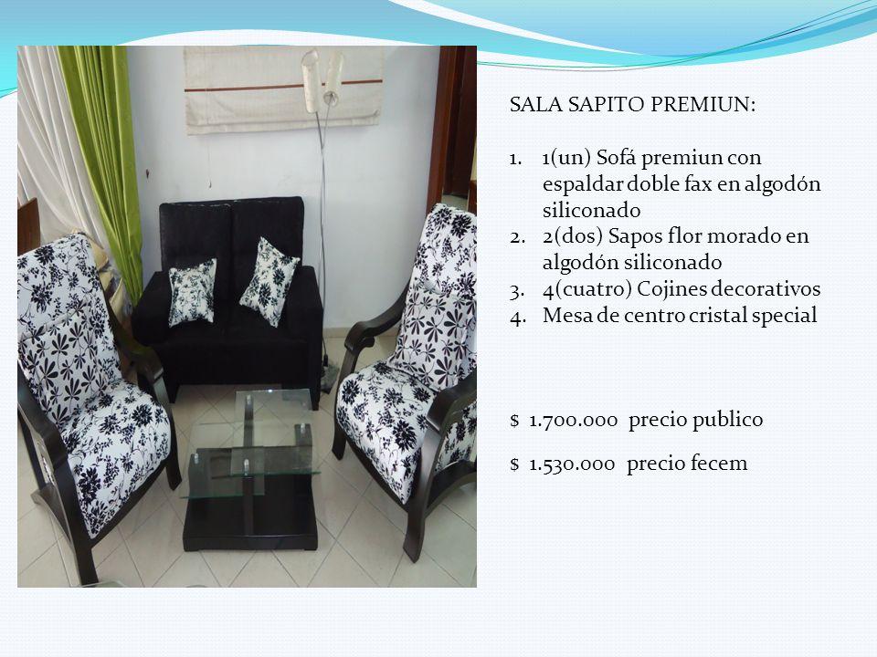 SALA SAPITO PREMIUN: 1(un) Sofá premiun con espaldar doble fax en algodón siliconado. 2(dos) Sapos flor morado en algodón siliconado.
