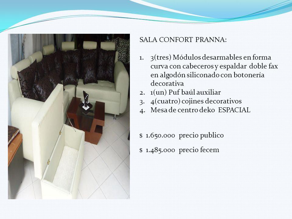 SALA CONFORT PRANNA: 3(tres) Módulos desarmables en forma curva con cabeceros y espaldar doble fax en algodón siliconado con botonería decorativa.