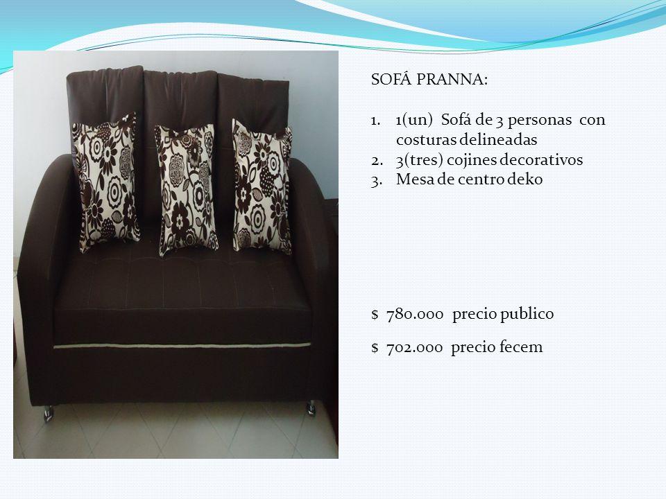 SOFÁ PRANNA: 1(un) Sofá de 3 personas con costuras delineadas. 3(tres) cojines decorativos. Mesa de centro deko.