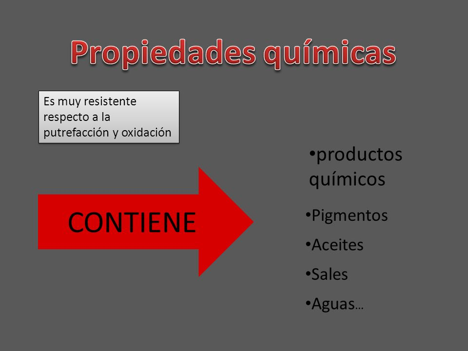 Propiedades químicas CONTIENE productos químicos Pigmentos Aceites