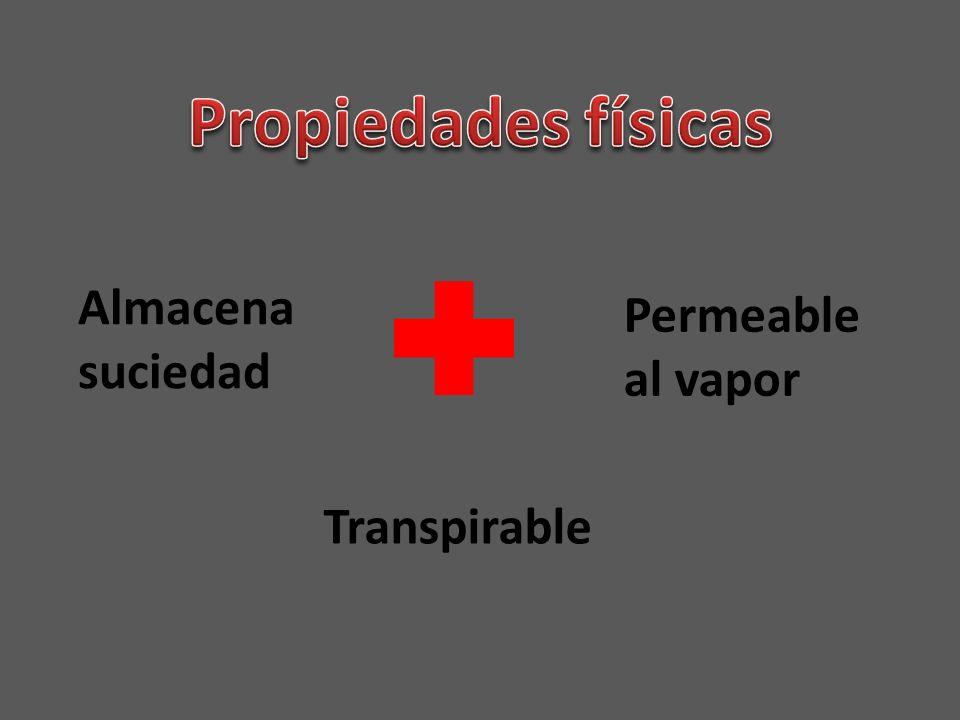 Propiedades físicas Almacena suciedad Permeable al vapor Transpirable