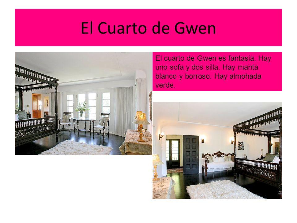 El Cuarto de Gwen El cuarto de Gwen es fantasia. Hay uno sofa y dos silla.